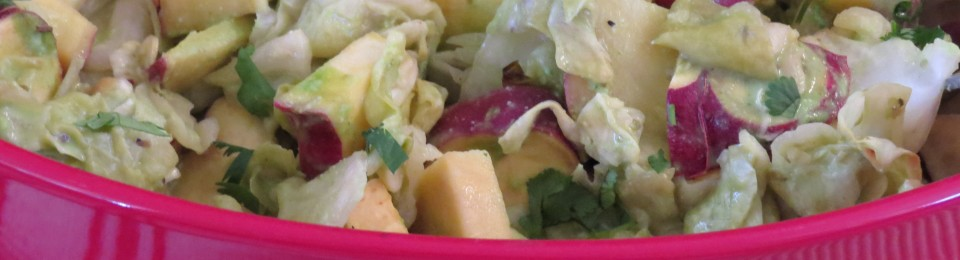 Roasted Sweet Potato & Cabbage with Cilantro Cashew Dressing